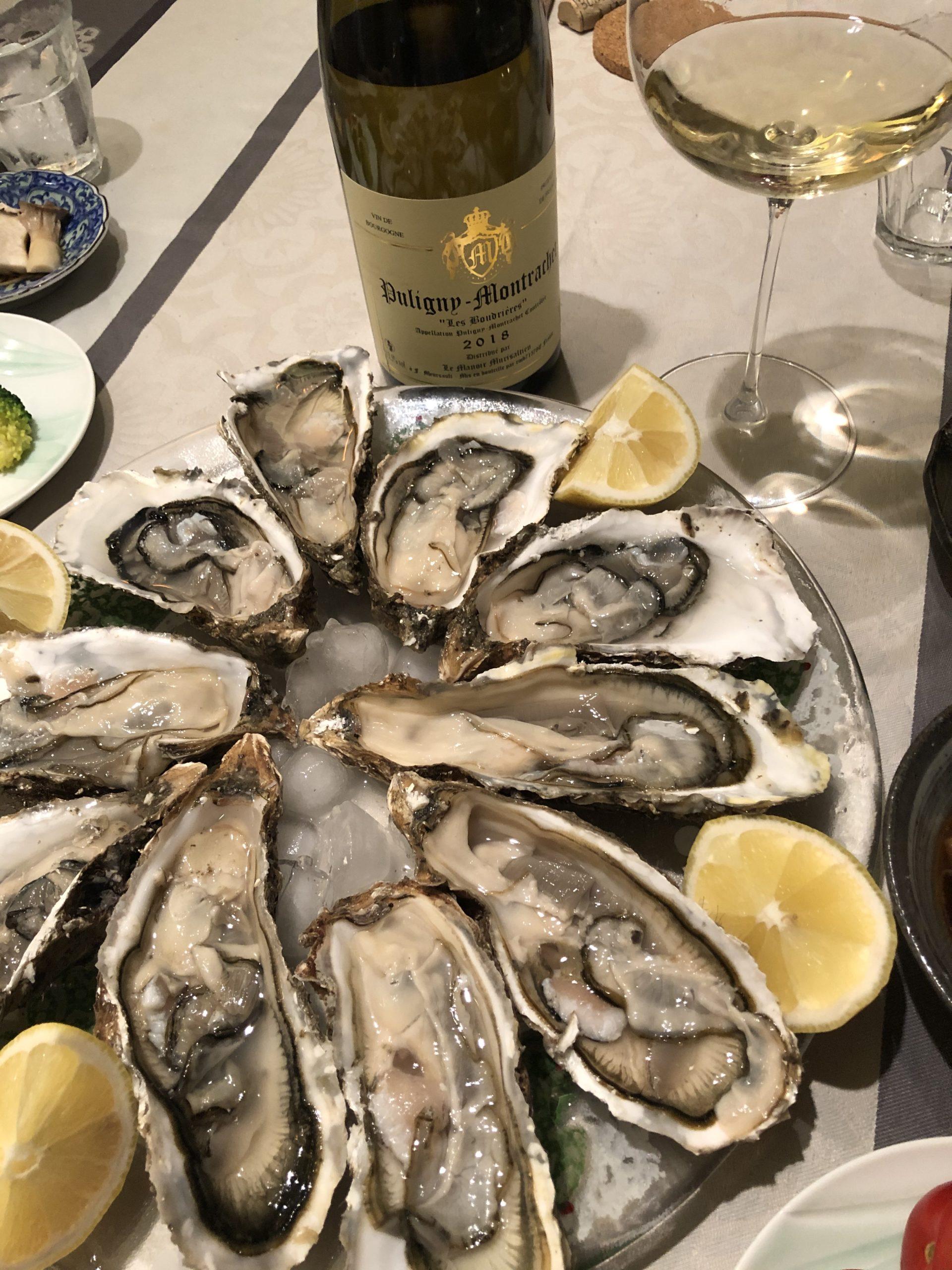 厚岸の牡蠣とピュリニモンラシェ